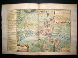 De Fer 1724 Folio Hand Colored Map Plan. Paris City Plan 17, France